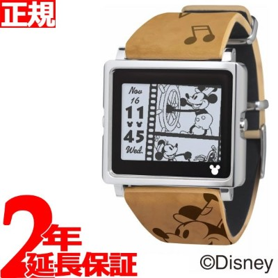 【SHOP OF THE YEAR 2018 受賞】エプソン スマートキャンバス EPSON smart canvas Mickey Mouse ヴィンテージシリーズ ブラウン 腕時計 メンズ...