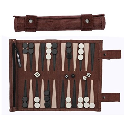 ボードゲーム 英語 アメリカ 海外ゲーム SG_BACKGAMMON.MOCCA Sondergut Roll-Up Suede Backgammon Game (Color-Mocha...