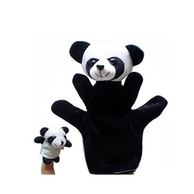andesanパンダFinger Puppet Cartoon Plush Hand Toys for Kids (大1 + 1小さな)