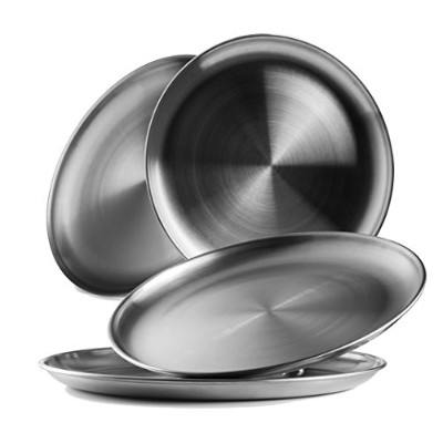(4) - Reusable Brushed Metal 18/8 Dinner Plates- Vintage Quality 304 Stainless Steel Silver Colour...