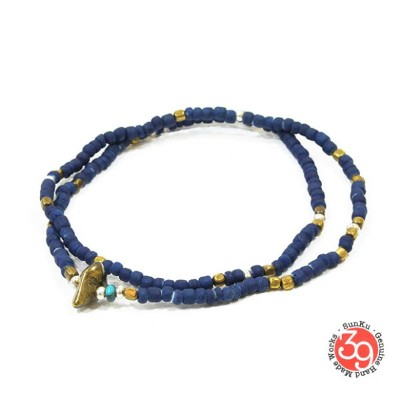 Sunku/39/サンクSK-025 Indigo Dye Beads Anklet & Necklace アンティークビーズNecklace/ネックレス/Anklet/アンクレットSilver925...