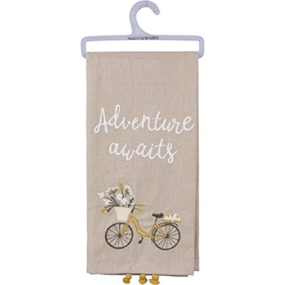 "(Multicolor) - Primitives by Kathy""Adventure Awaits"" Kitchen Towel - Hand Lettered Style and..."