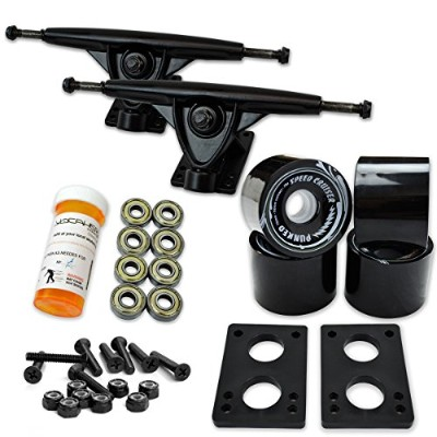 トラック スケボー スケートボード 海外モデル 直輸入 071-Solid Black Wheel-Black Trucks Yocaher Longboard Skateboard Trucks...