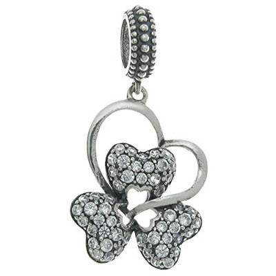 Queenberry Sterling Silver Cubic Zirconia Valentine Love Clover Heart European Style Dangle Bead...