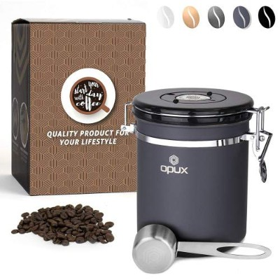 (Small 470ml, Matte Grey) - OPUX Airtight Coffee Bean Canister Coffee Ground Vacuum Sealed Storage...