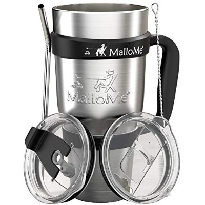 (890ml, Silver) - MalloMe Stainless Steel Vacuum Insulated 6-Piece Tumbler Set, 890ml
