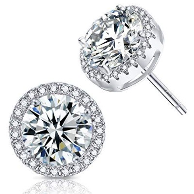(White gold plated) - Platinum And Rose Gold Plated Sparkling Round Cubic Zirconia CZ 10mm Halo...