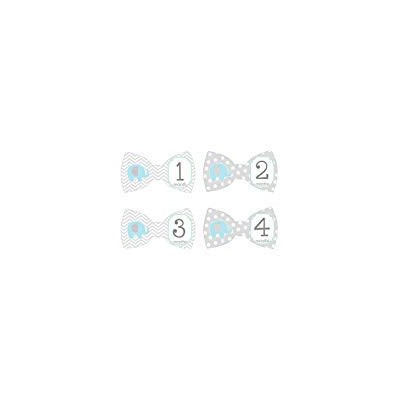 Gift Set of 12 Bowtie Keepsake Photography Monthly Baby Stickers with Blue Elephants on Gray BT018...