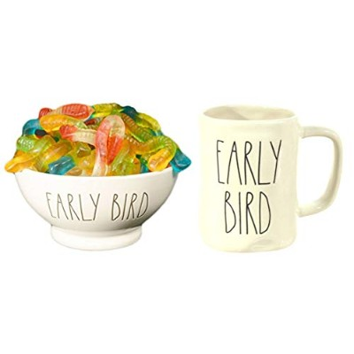 Rae Dunn The Early Bird Gets The Worm Fathers Day ギフトセット アイスクリームシリアルボウルとマグセット グミワームキャンディ付き 母の日...