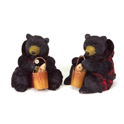 Set of 2 Rustic Lodge Sitting Black Bear Christmas Figures in Red Plaid 20cm