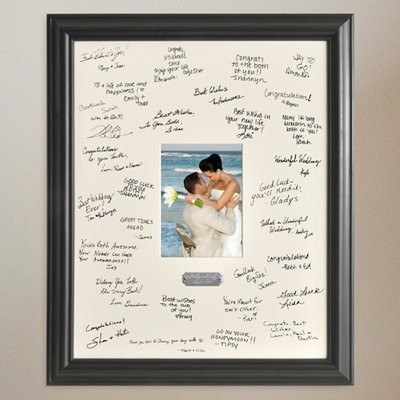 Personalized Gift - Wedding Wishes Signature Guest Book Picture Photo/Photograph Frame - With...