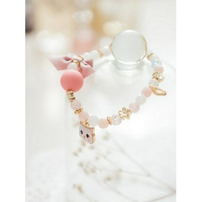 Ruby's Collection 【Ruby's Collection 】リボン&猫ブレスレット ルビーコレクション アクセサリー ブレスレット ピンク