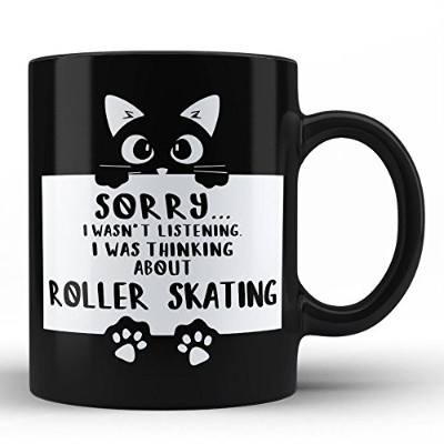 Roller Skating面白いブラックコーヒーマグby Hom Personalisedギフトfor趣味Mug by Hom