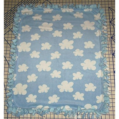 Clouds in the Sky Hand Tied Blue Fleece Baby Pet Lap Blanket 30 x 24 made by Scrunchies by Sherry...