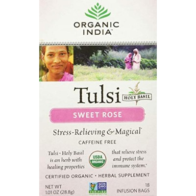 ORGANIC INDIA Tulsi Sweet Rose Tea - Delicious Sweet Rose and Holy Basil Blend Rich in Antioxidants...