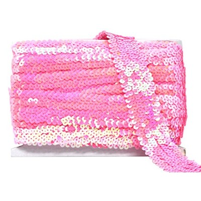 (3.8cm 6 Rows, Pink) - Mandala Crafts Flat Glitter Metallic Bling Elastic Paillette Applique Sequin...