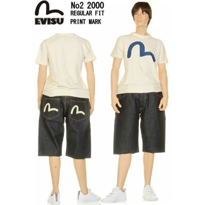 EVISU JEANS No2 2000 ハーフパンツ カモメ プリントマーク エヴィス ジーンズ KAMOME MARK MADE IN JAPAN 日本製【28〜36inch エビスジーンズNo2...