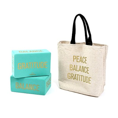 "ヨガブロック フィットネス Affirmations Yoga Blocks (Set of 2, TEAL), Eco-Friendly High-Density Foam - 4"" X 6"" X..."