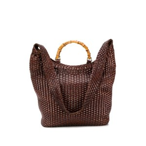 Gucci Pre-Owned Bamboo イントレチャートバッグ - ブラウン