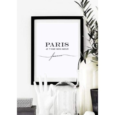 LOVELY POSTERS | PARIS JE T'AIME MON AMOUR (white) | A3 アートプリント/ポスター【北欧 シンプル 白黒 インテリア】