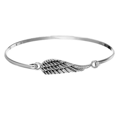 Silverly Women's .925 Sterling Silver Thin Angel Wing Stackable Bangle Bracelet
