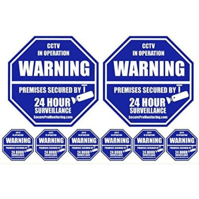 2 CCTV Security Camera Home Alarm Signs + 6 Security Alarm System Stickers セキュリティー看板+ステッカーセット・防犯カメラ...