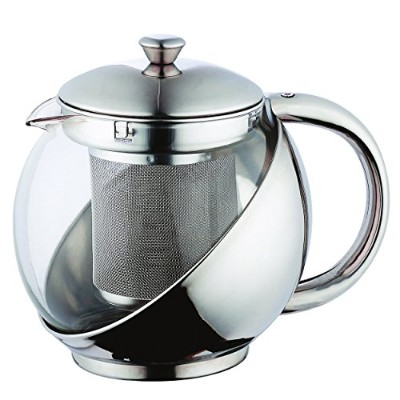 Renberg RB3049 Glass & Stainless Steel Tea Pot With filter Strainer & Plunger