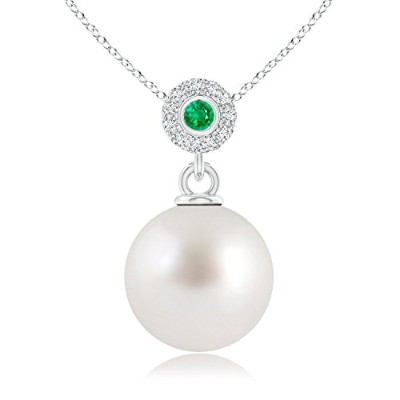 South Sea Cultured Pearl Haloペンダントwithベゼルエメラルド(10 mm South Sea Cultured Pearl)