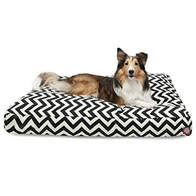 Black Chevron Large Rectangle Indoor Outdoor Pet Dog Bed With Removable Washable Cover By Majestic...