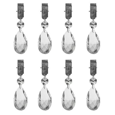 (Crystal) - Hyamass 8pcs Metal Clip Crystal Glass Teardrop Prisms Pendant Tablecloth Weights