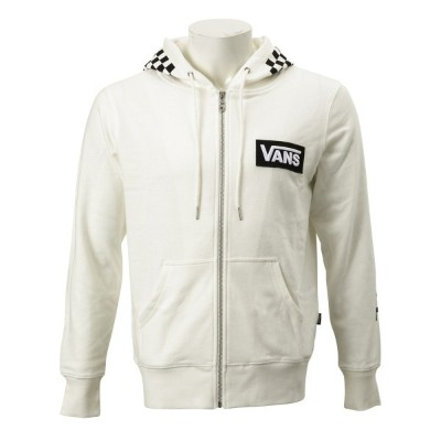 【VANSウェア】VANS CHECKER ZIP UP HOODIE ヴァンズ フーディー・パーカー CD19SS-MC13 WHITE