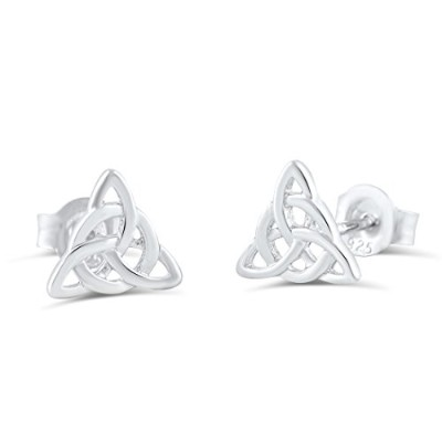 Sterling Silver Celtic Triquetra Stud Earrings - 7mm