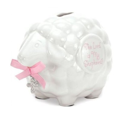 Ceramic Baby Lamb Bank with Pink Girl Scripture - The Lord Is My Shepherd by Brownlow Gifts