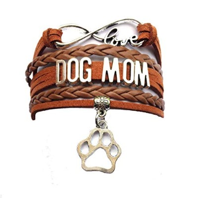 Dolon infinity love dog mom Paw bracelet-handmadeペットFriendshipレザーギフト