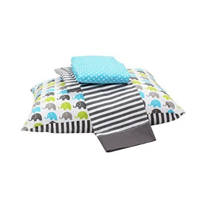 Bacati Little Sailor 3 Piece Toddler Bedding Set, Aqua/Lime/Grey by Bacati