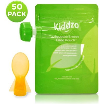 Baby Food Pouch with Spoon Attachment. Easy Fill & Easy Clean Squeeze Pouches. Great for Healthy,...