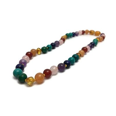 Baltic Essentials 12.5 inch Baltic Amber Necklace Rainbow Honey Amber Pink Rose Quartz Red Agate...
