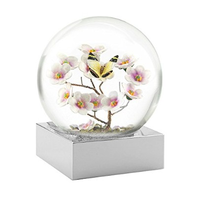 Butterfly on Branch Snow Globe with Silver Plated Base by CoolSnowGlobes