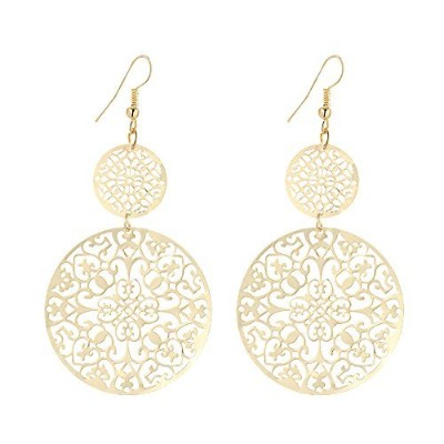 IDB Productions IDB Delicate Filigree Dangle Double Circle Drop Hook Earrings - available in silver...