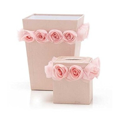 Glenna Jean Victoria Tissue Cover and Wastebasket Set, Rosettes by Glenna Jean