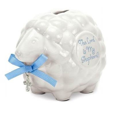 Ceramic Baby Lamb Bank with Cross and Blue Ribbon-The Lord Is My Shepherd by Brownlow Gifts by...