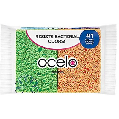 O-Cel-O Handy Sponge, 4.7-Inches x 3-Inches x 3/5-Inches, 12-Count (Colors May Vary) by O-Cel-O