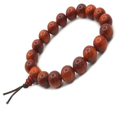 Sandalwood Bead Bracelet Tibetan Buddhist Buddha Meditation Men Elastic Bracelet 8mm Mala Prayer...