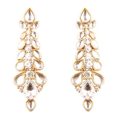 Touchstone Hollywood Glamour grand classy designer wedding jewellery earrings in antique gold tone...
