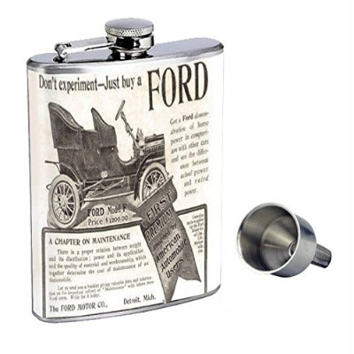 Motor company非常に古いAd Perfectionスタイル8オンスステンレススチールWhiskey Flask with Free Funnel d-329
