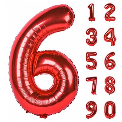 (Red, Number 6) - 100cm Red Large Numbers 0-9 Birthday Party Decorations Helium Foil Mylar Big...