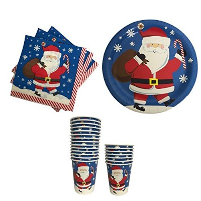 Christmas Paper Plates Napkins and Cups with Santa- Great for Parties
