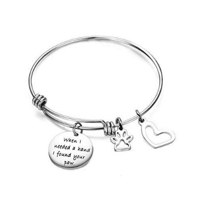 ensianth When I Needed a Hand I Found Your PawブレスレットExpandable Wire Bangle with Paw PrintチャームSpecial...