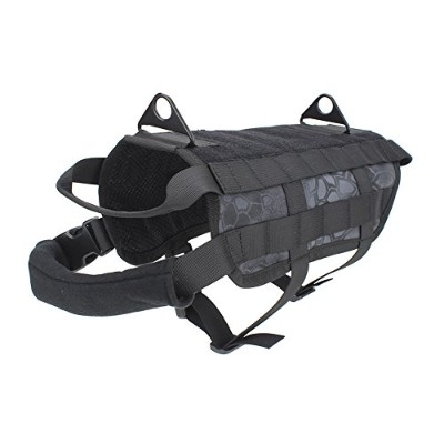 outry Tactical犬トレーニングハーネスMOLLE Vest with Pullingハンドル、両方使用可能な4サイズSmall and Large Dogs