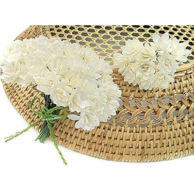NAVA CHIANGMAI 10mm White Gypsophila Mulberry Paper Flowers with wire stems Mini Paper Flowers,...